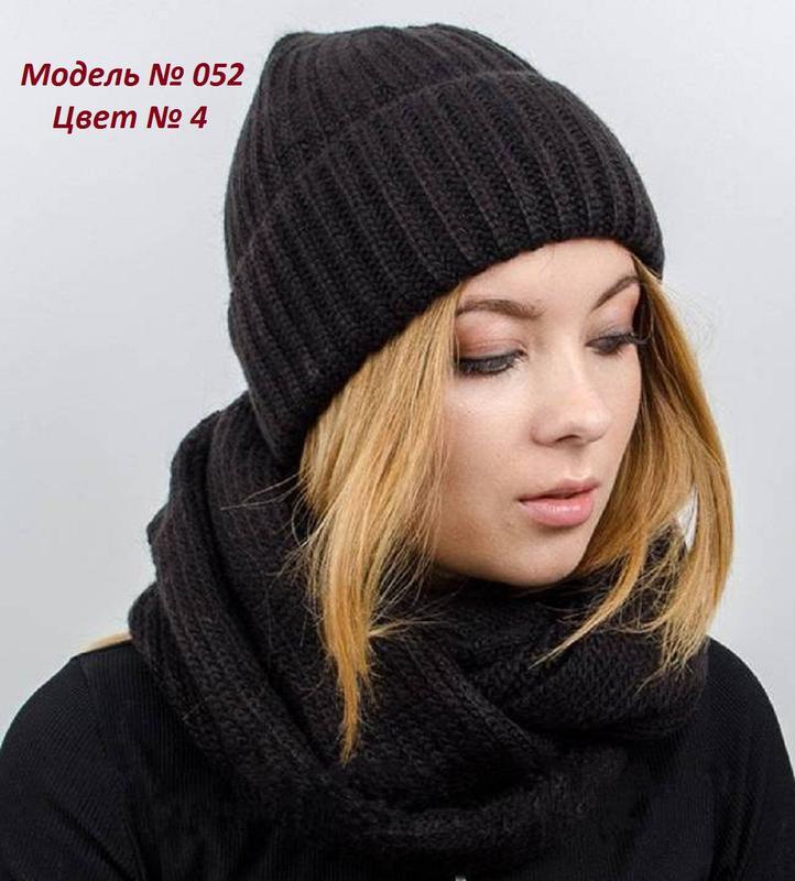 Зимний женский вязаный комплект -  шапка, хомут (снуд), цвет к... - Фото 4