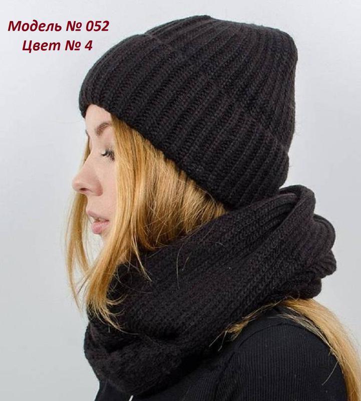 Зимний женский вязаный комплект -  шапка, хомут (снуд), цвет к... - Фото 5