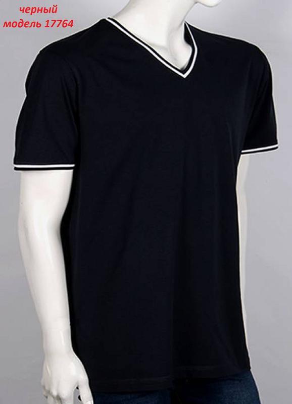 Мужская однотонная футболка, цвет: черный. - Фото 2