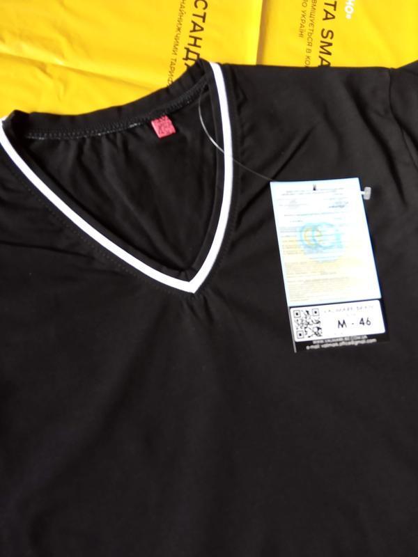 Мужская однотонная футболка, цвет: черный. - Фото 8