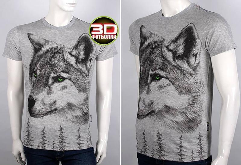 Футболка мужская волк, 3 d - Фото 4