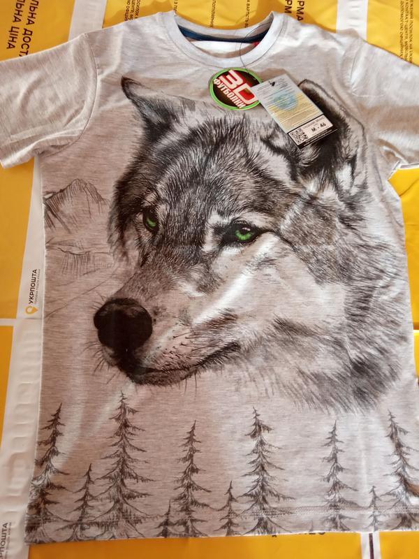 Футболка мужская волк, 3 d - Фото 8