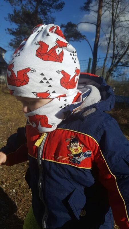 Детская шапка и хомут, демисезонный комплект: лисички на белом... - Фото 10