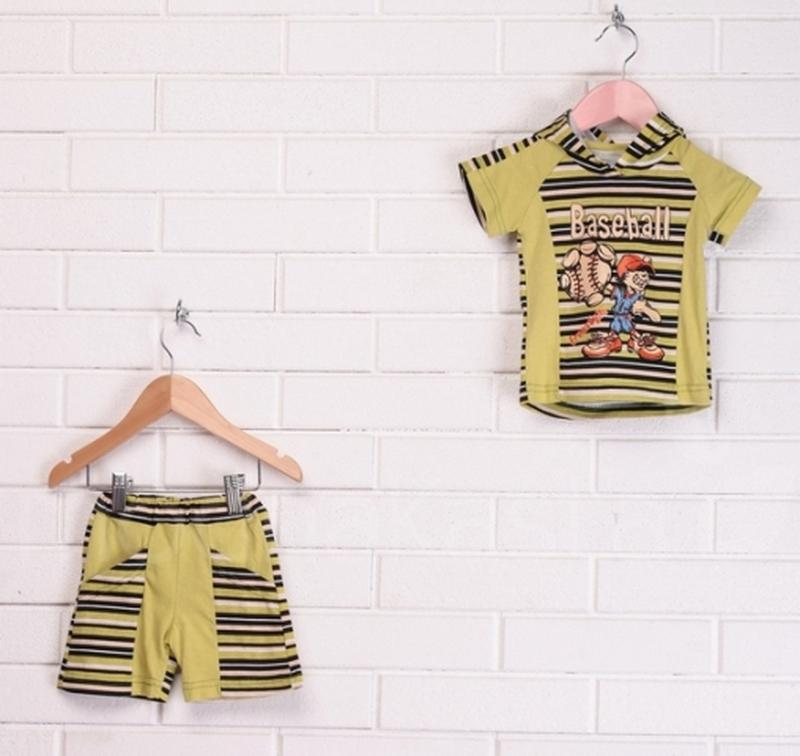 Детский летний комплект, футболка с капюшоном и шорты