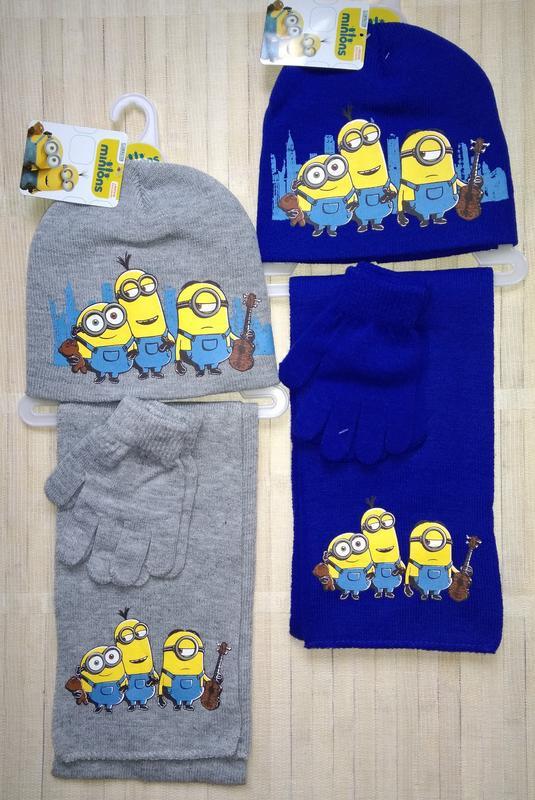 Комплект тройка миньоны minions шапка шарф перчатки illumination