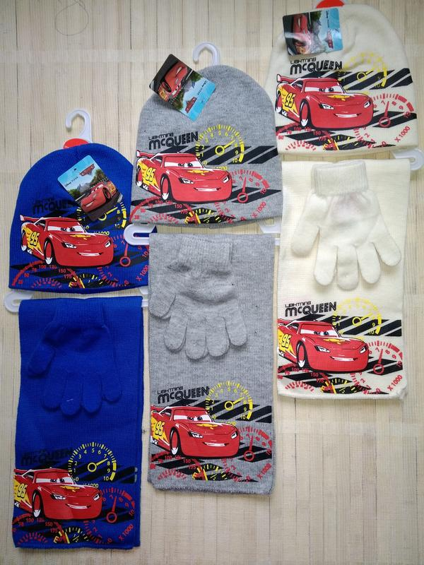 Комплект тачки mcqueen от disney pixar шапка шарф перчатки