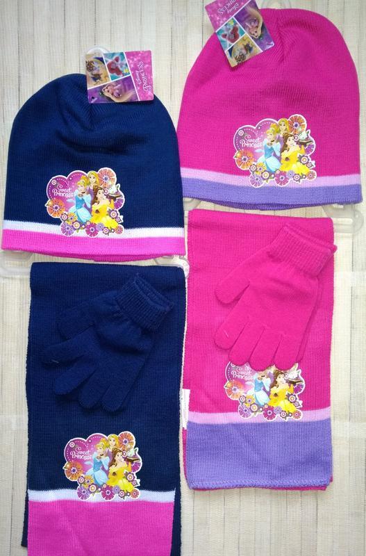 Комплект тройка шапка шарф перчатки princess