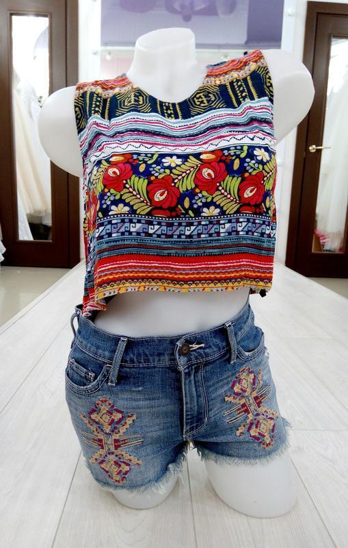 🔥 обвал цен🔥интересные короткие джинсовые рваные шорты с вышив...