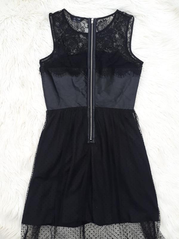 Роскошное вечернее платье с кожанным верхом и сеткой раз.m