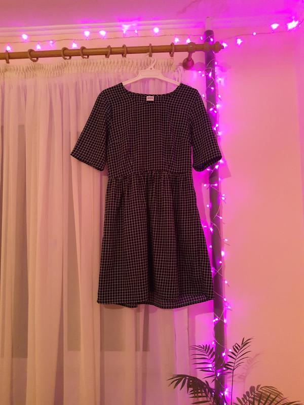 Платье сукня vero moda синее темно-синее в клетку короткое мин...