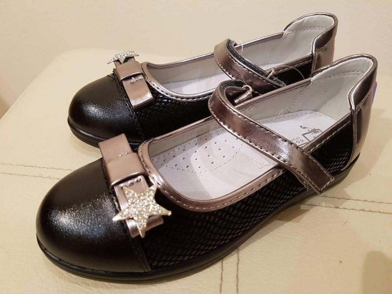 Туфли для девочки черные с серебром 28p/31p