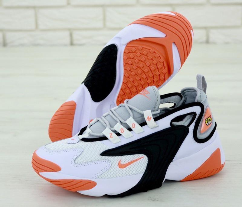 Мужские кроссовки nike zoom 2k white orange - Фото 2
