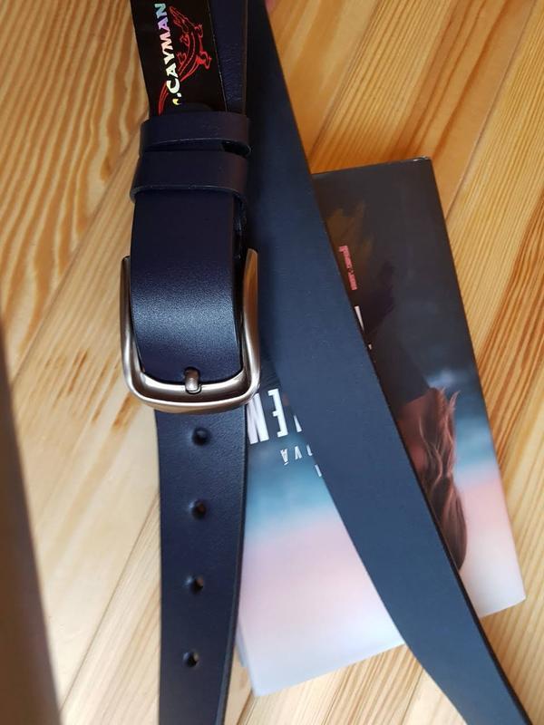 Кожаный ремень mr. cayman 40 navy plain - Фото 4