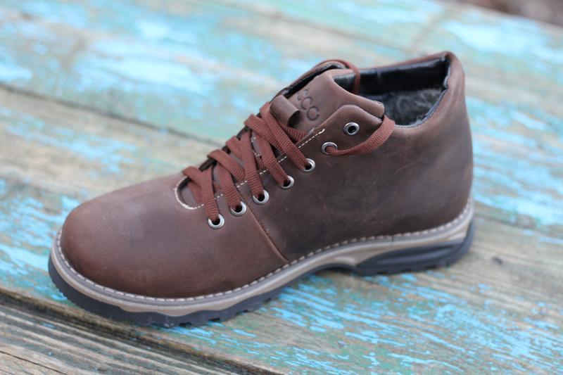 Мужские зимние ботинки чоловічі черевики из натуральной кожи.ecco - Фото 2