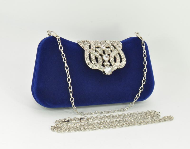 Велюровый клатч rose heart 1829 синий, сумочка на цепочке