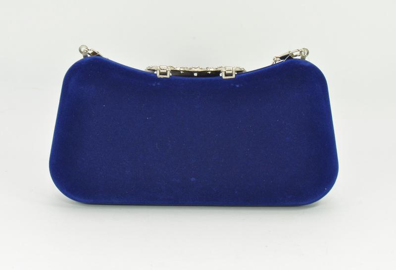 Велюровый клатч rose heart 1829 синий, сумочка на цепочке - Фото 2