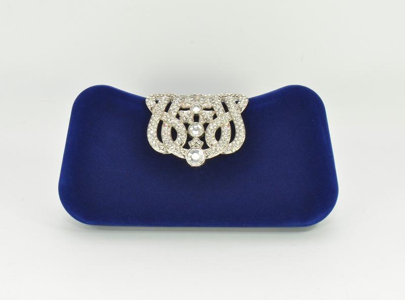 Велюровый клатч rose heart 1829 синий, сумочка на цепочке - Фото 3