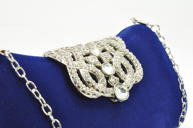 Велюровый клатч rose heart 1829 синий, сумочка на цепочке - Фото 4