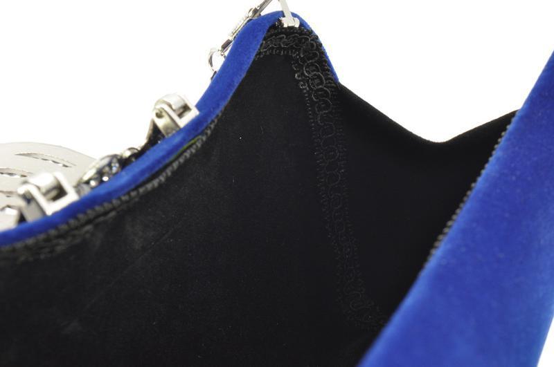 Велюровый клатч rose heart 1829 синий, сумочка на цепочке - Фото 5