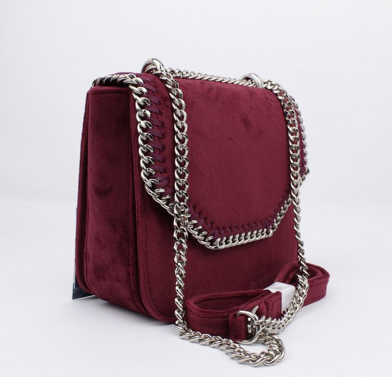 Маленькая велюровая сумочка skl 51541 бордовая