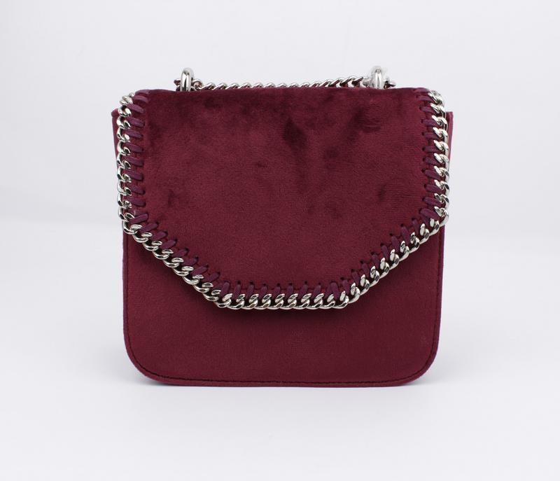 Маленькая велюровая сумочка skl 51541 бордовая - Фото 2