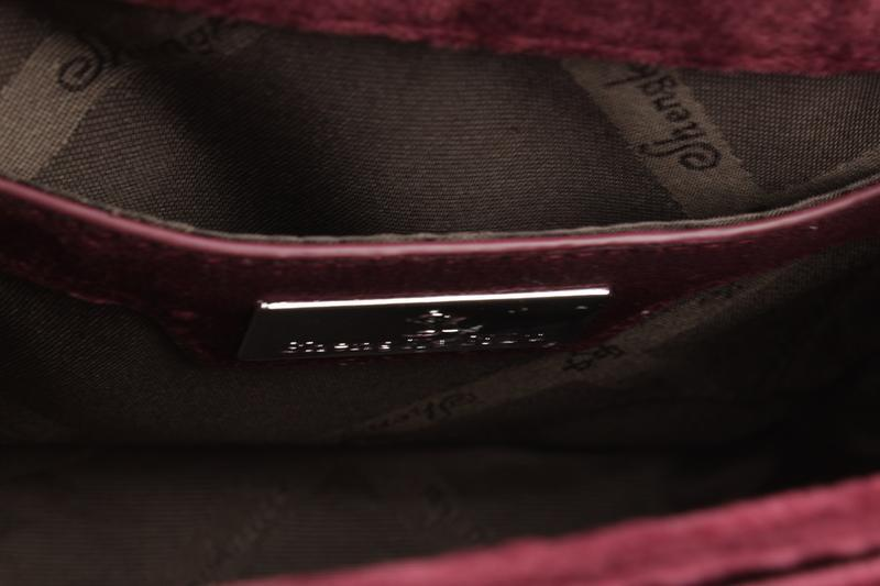 Маленькая велюровая сумочка skl 51541 бордовая - Фото 3