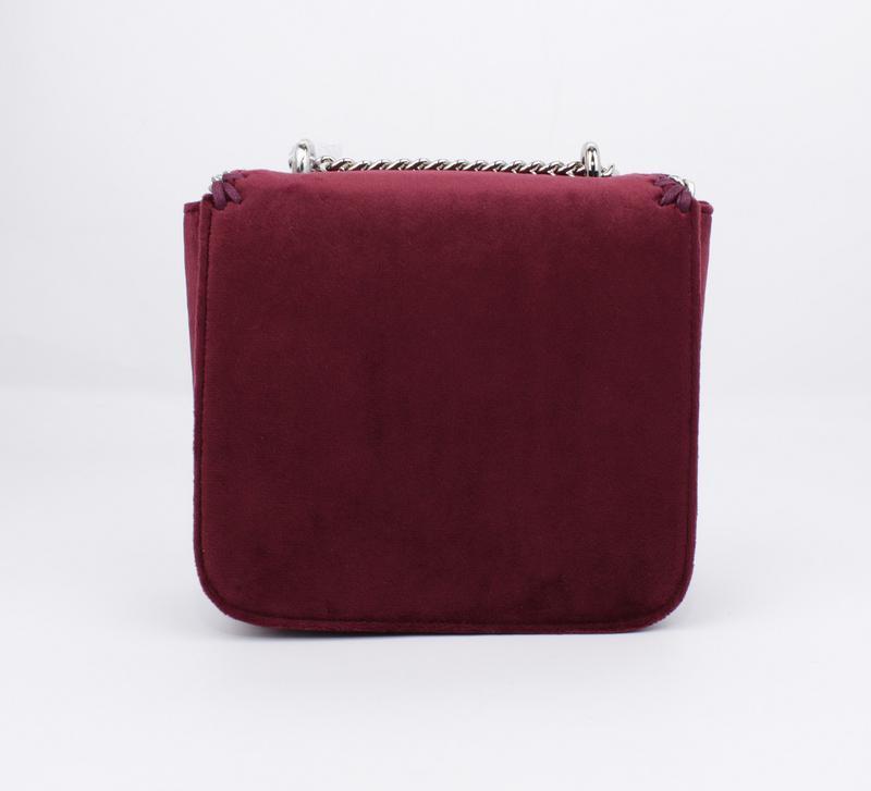 Маленькая велюровая сумочка skl 51541 бордовая - Фото 4