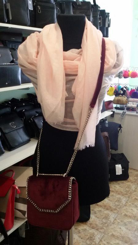 Маленькая велюровая сумочка skl 51541 бордовая - Фото 5