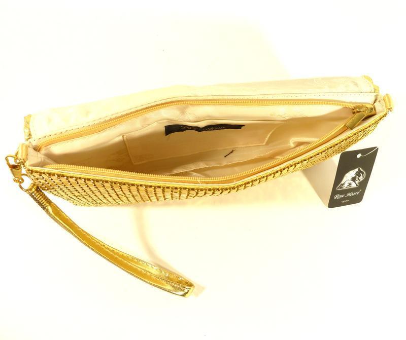 Вечерний клатч, сумочка rose heart 3211 золото с белыми стразами - Фото 2