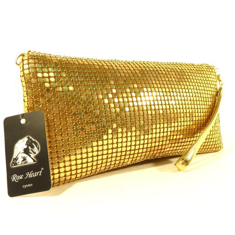 Вечерний клатч, сумочка rose heart 3211 золото с белыми стразами - Фото 3