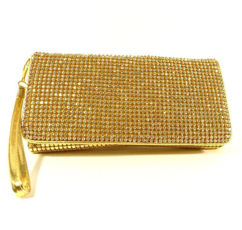 Вечерний клатч, сумочка rose heart 3211 золото с белыми стразами - Фото 4
