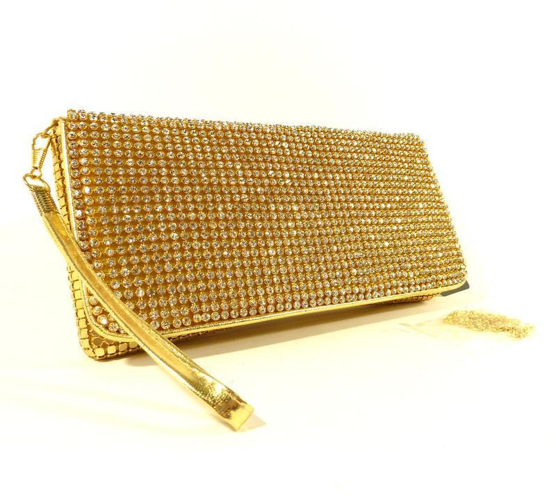 Вечерний клатч, сумочка rose heart 3211 золото с белыми стразами - Фото 5