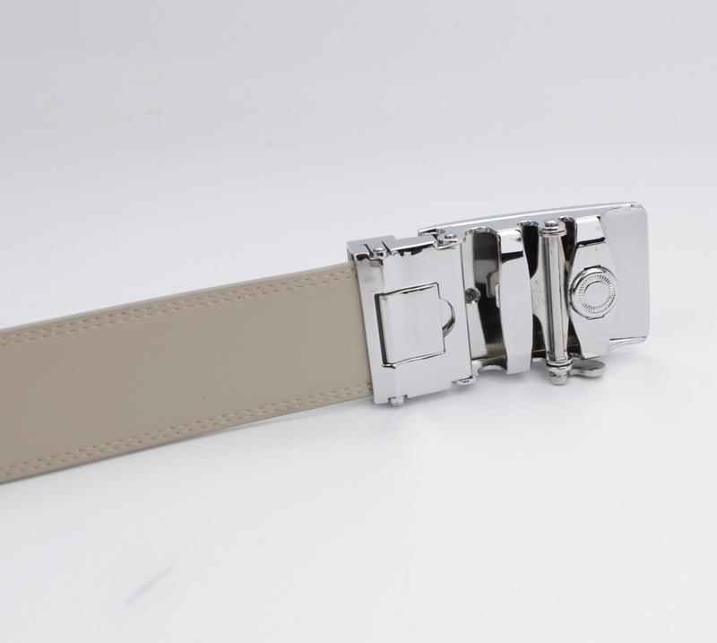 Кожаный ремень автомат мужской alon 4986 темно-бежевый - Фото 3