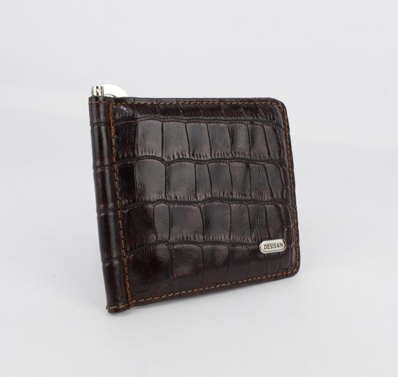 Купюрник-зажим для денег магнитный кожаный desisan 208-19 кофе