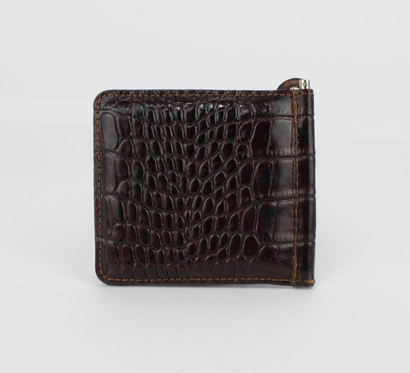 Купюрник-зажим для денег магнитный кожаный desisan 208-19 кофе - Фото 3