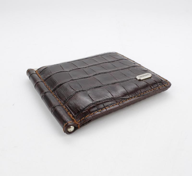 Купюрник-зажим для денег магнитный кожаный desisan 208-19 кофе - Фото 4