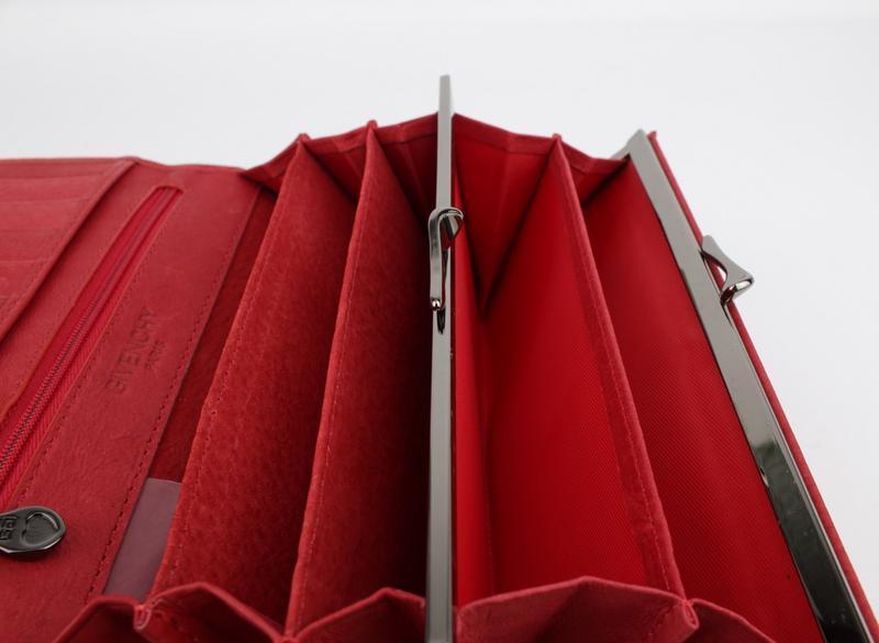 Кошелек кожаный на кнопке  6287 красный, расцветки - Фото 2