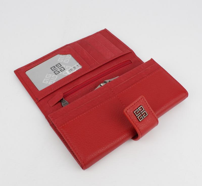 Кошелек кожаный на кнопке  6287 красный, расцветки - Фото 3