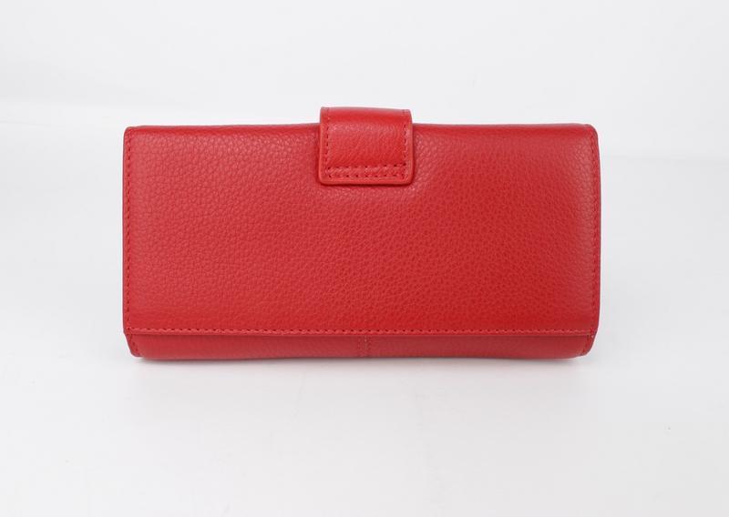 Кошелек кожаный на кнопке  6287 красный, расцветки - Фото 4