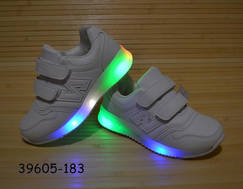 Кроссовки белые 26-31 размеры светится подошва - Фото 2