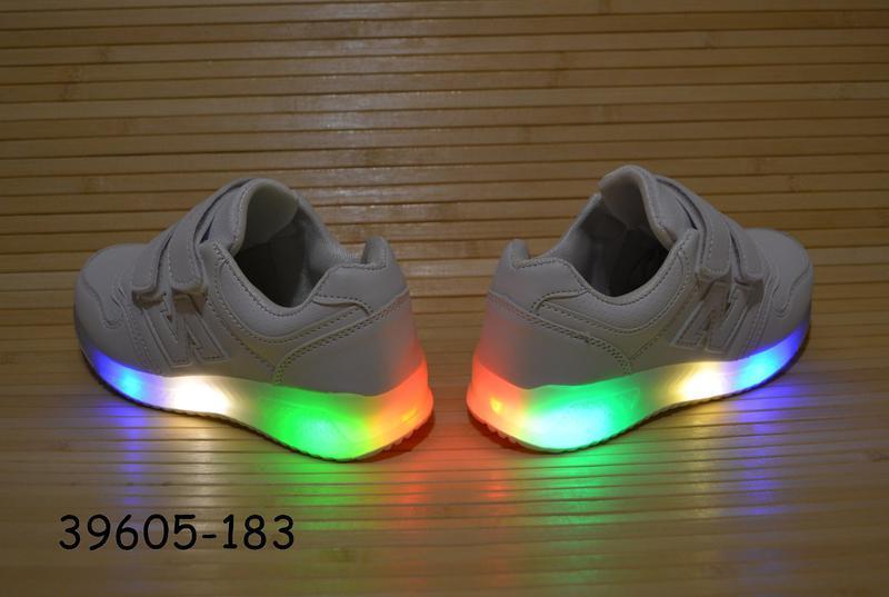 Кроссовки белые 26-31 размеры светится подошва - Фото 3
