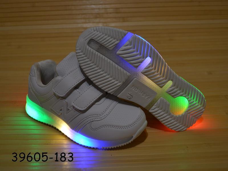 Кроссовки белые 26-31 размеры светится подошва - Фото 5