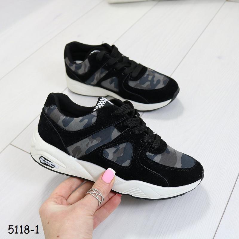Кроссовки женские камуфляжные с чёрным