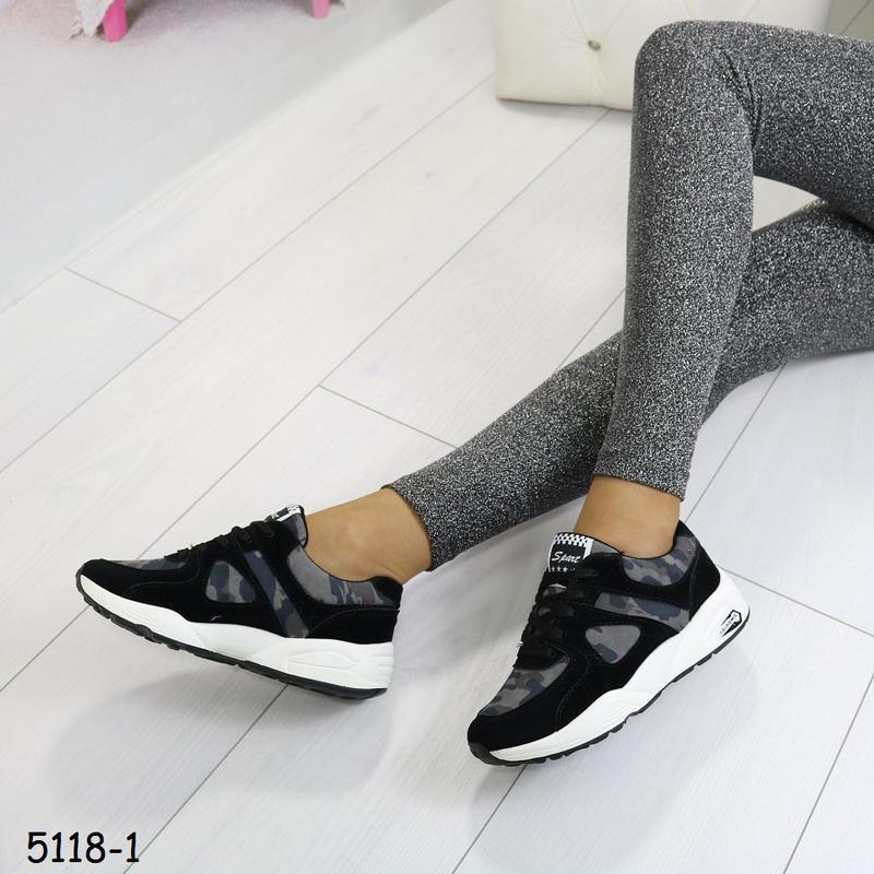 Кроссовки женские камуфляжные с чёрным - Фото 3