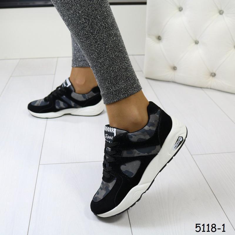 Кроссовки женские камуфляжные с чёрным - Фото 5