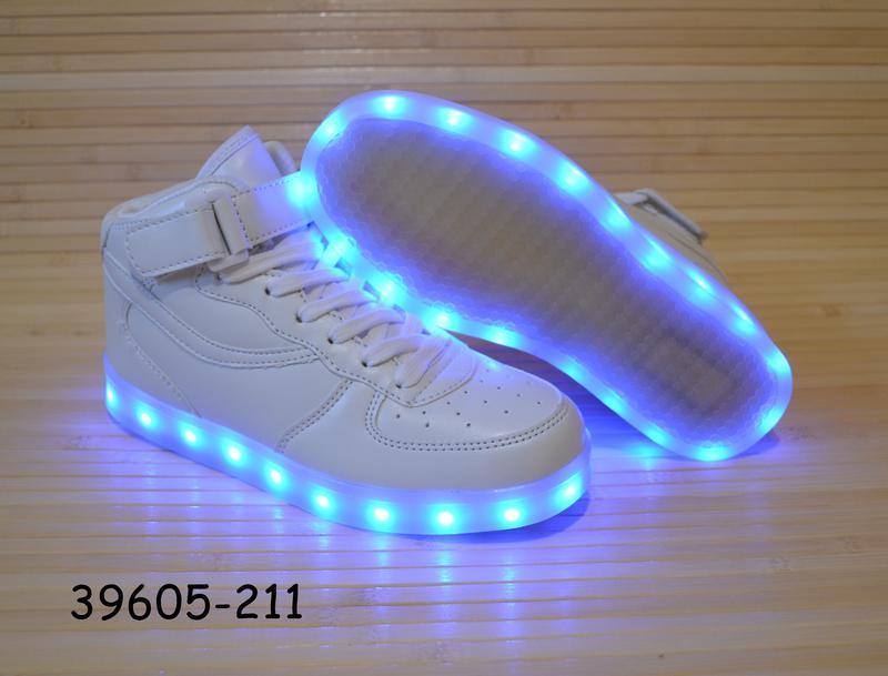 Кроссовки со светящей led подошвой с usb кабелем размеры 30 - 38 - Фото 3