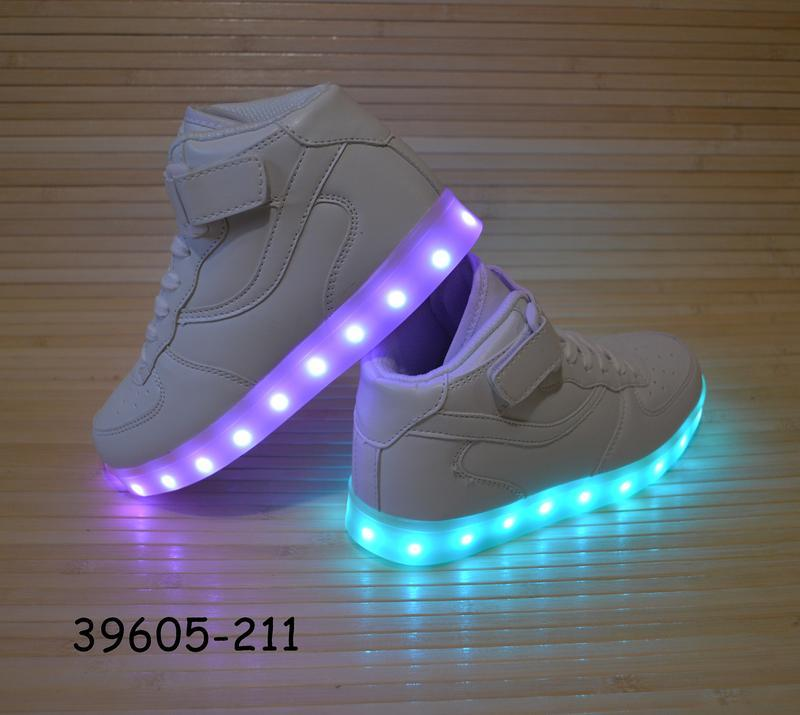 Кроссовки со светящей led подошвой с usb кабелем размеры 30 - 38 - Фото 5