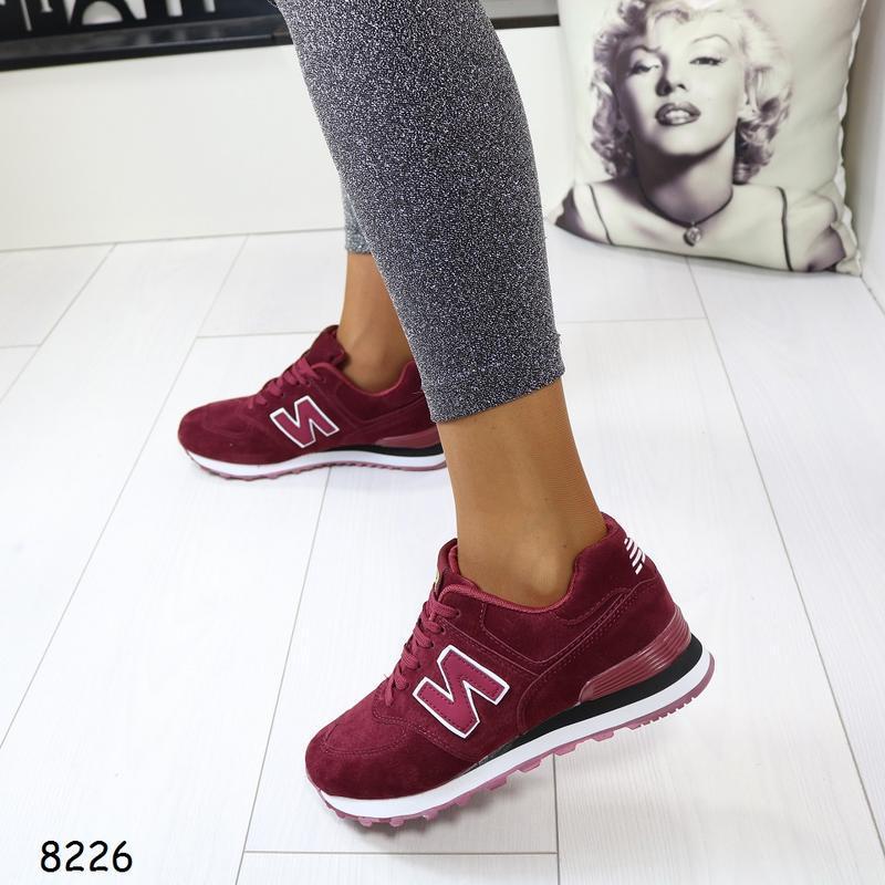 Женские кроссовки с эко замши - Фото 2