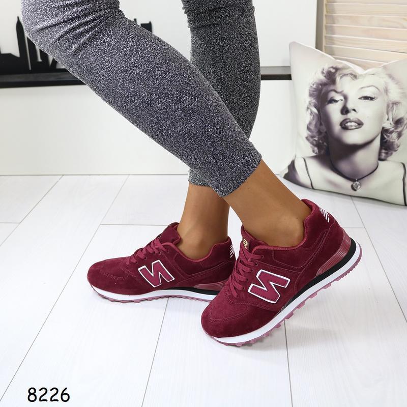 Женские кроссовки с эко замши - Фото 5