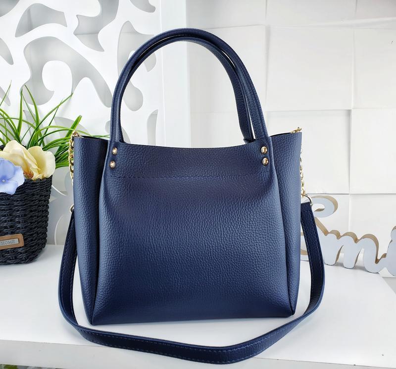 Женская сумка синяя - Фото 5